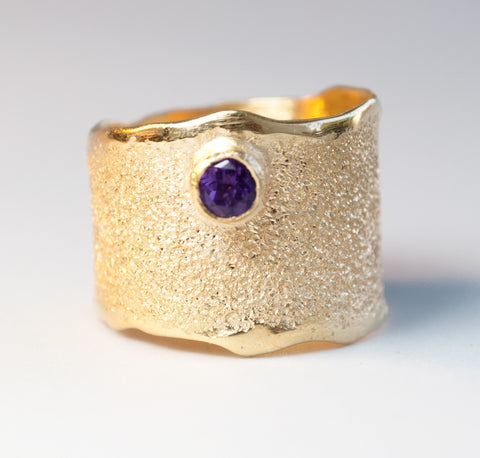 Gold plated Amethyst Wide Silver ring, Amethyst Solitaire ring foster texture - Handmade with love from Greece