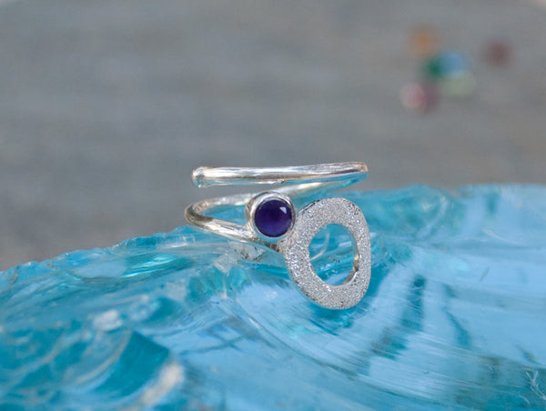 Amethyst silver ring, February birthstone, open circle ring, purple stone ring - Handmade with love from Greece
