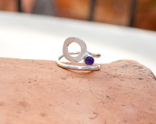 Amethyst silver ring, February birthstone, open circle ring, purple stone ring