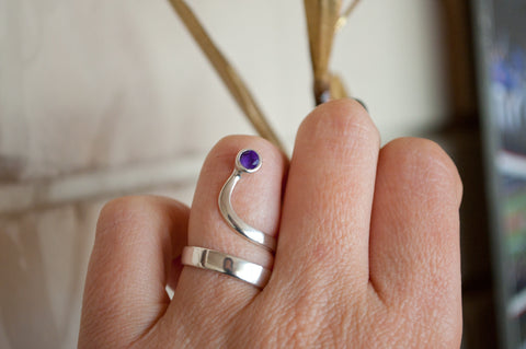 amethyst silver wave ring, amethyst ring, February birthstone silver ring - Handmade with love from Greece