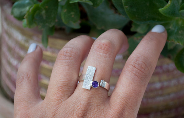 Amethyst silver ring, February birthstone ring, geometric ring, purple stone ring - Handmade with love from Greece