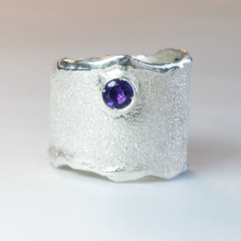 Amethyst Wide Silver Ring, Amethyst Solitaire Ring foster texture with 925 silver wide band handmade in Greece