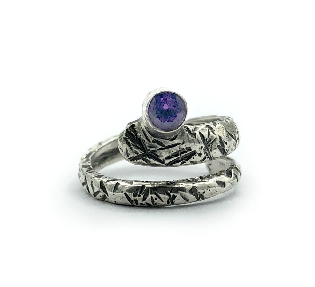Amethyst ring, February birthstone, snake ring, purple stone ring