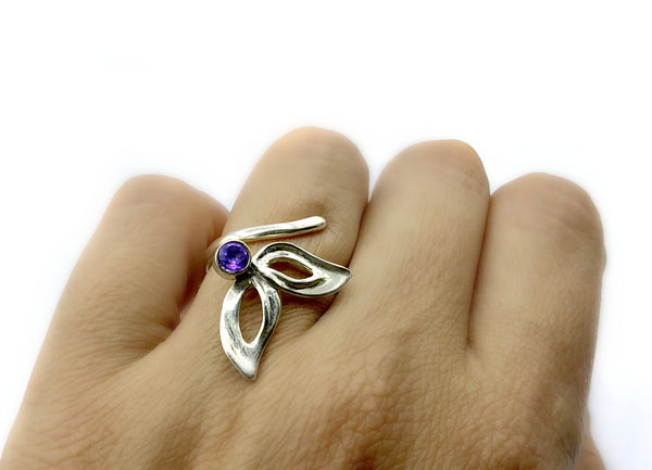 flower ring, amethyst silver ring, contemporary silver ring adjustable - Handmade with love from Greece