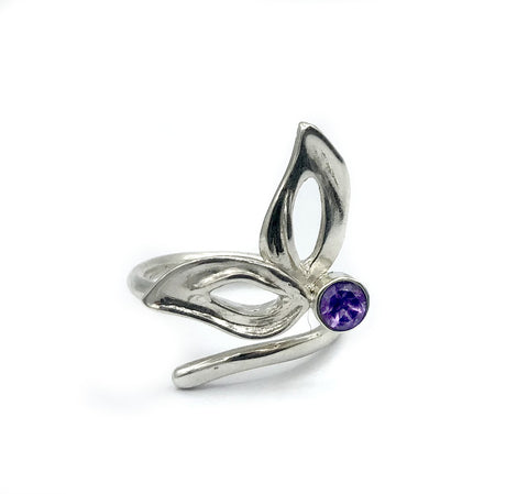 flower ring, amethyst silver ring, contemporary silver ring adjustable