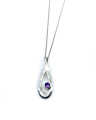 amethyst pendant drop pendant, silver pendant silver chain - Handmade with love from Greece