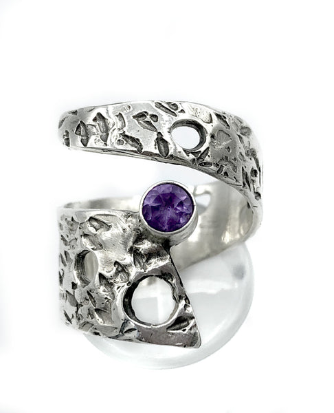 Abstract silver ring, amethyst ring, silver adjustable ring, modern ring - Handmade with love from Greece