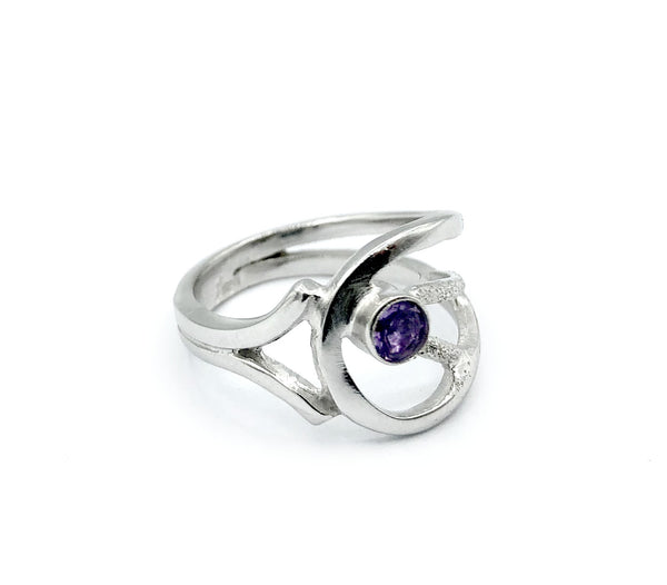 Amethyst Silver ring, Amethyst ring, February birthstone ring