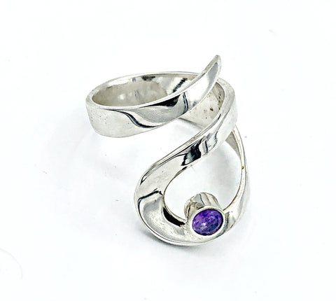 amethyst silver adjustable ring, drop shape silver ring, contemporary silver ring - Handmade with love from Greece