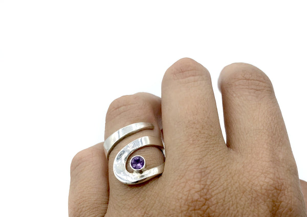 amethyst silver adjustable ring, drop shape silver ring, contemporary silver ring