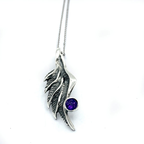 angel wing pendant, amethyst silver pendant, silver pendant silver chain