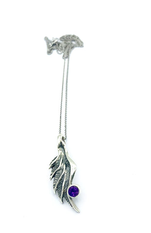 angel wing pendant, amethyst silver pendant, silver pendant silver chain - Handmade with love from Greece