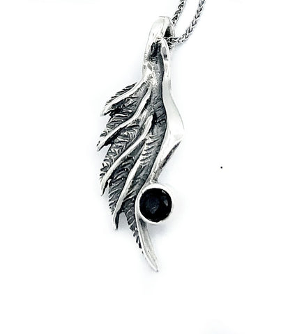 angel wing pendant, black spinel silver pendant, silver pendant silver chain - Handmade with love from Greece
