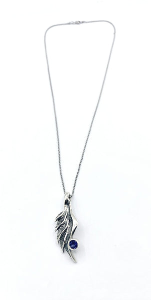 angel wing necklace, blue iolite silver pendant, wing necklace, silver chain