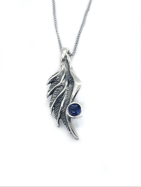 angel wing necklace, turquoise silver pendant, wing necklace, silver chain