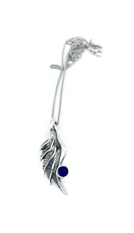 angel wing necklace, blue lapis silver pendant, wing necklace, silver chain - Handmade with love from Greece