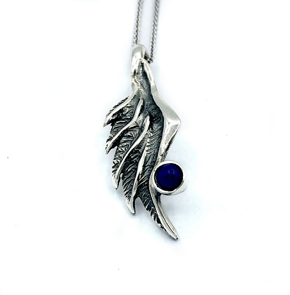 angel wing necklace, blue lapis silver pendant, wing necklace, silver chain