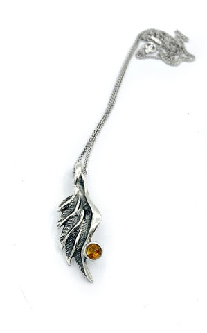angel wing pendant, citrine silver pendant, silver pendant silver chain - Handmade with love from Greece