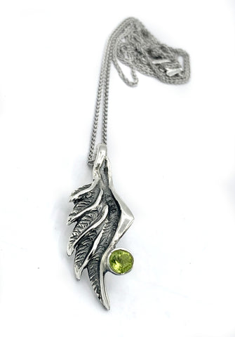 angel wing pendant, peridot silver pendant, silver pendant silver chain - Handmade with love from Greece