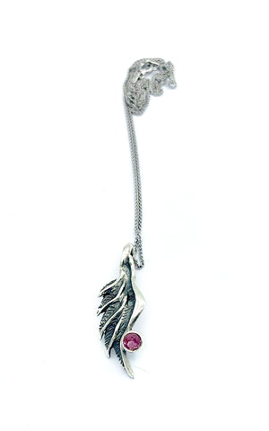 angel wing pendant, pink tourmaline silver pendant, silver pendant silver chain - Handmade with love from Greece