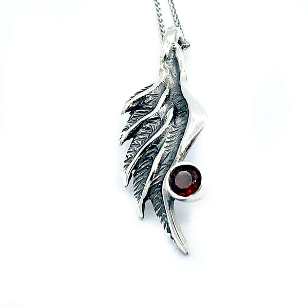 wing pendant, red garnet silver pendant, angel wing pendant, silver chain