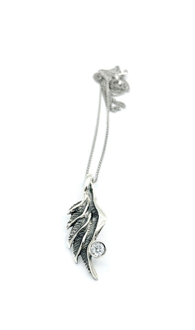 angel wing necklace, zircon silver pendant, wing necklace, silver chain - Handmade with love from Greece