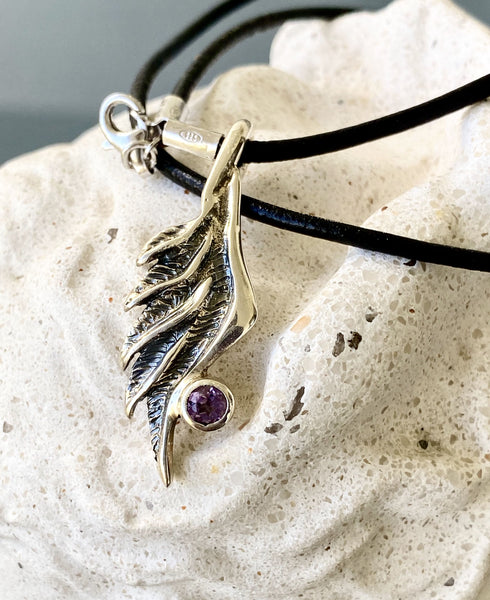 angel wing necklace silver with gemstone