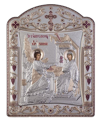 Virgin Mary Annunciation Byzantine Greek Orthodox Silver Icon, Silver 16.7x22.4 cm
