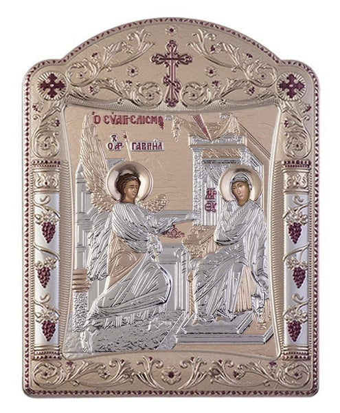 Virgin Mary Annunciation Greek Orthodox Silver Icon, Gold