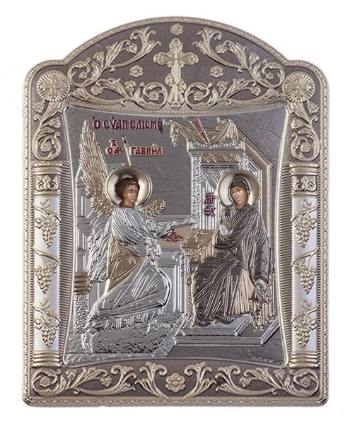 Virgin Mary Annunciation Greek Orthodox Silver Icon, Grey  22.7x30.5cm