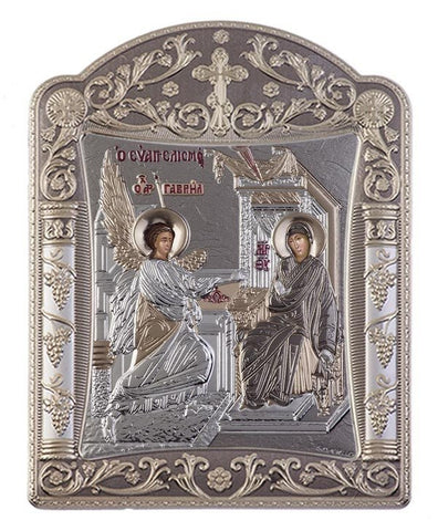Virgin Mary Annunciation Byzantine Greek Orthodox Silver Icon, Grey 16.7x22.4 cm