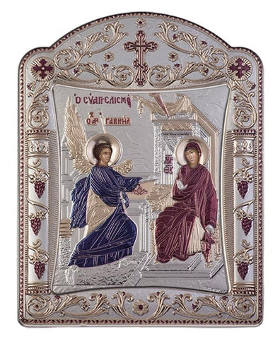 Virgin Mary Annunciation Byzantine Greek Orthodox Silver Icon, Burgundy 16.7x22.4cm