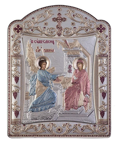Virgin Mary Annunciation Byzantine Greek Orthodox Silver Icon, Red & Blue 16.7x22.4 cm