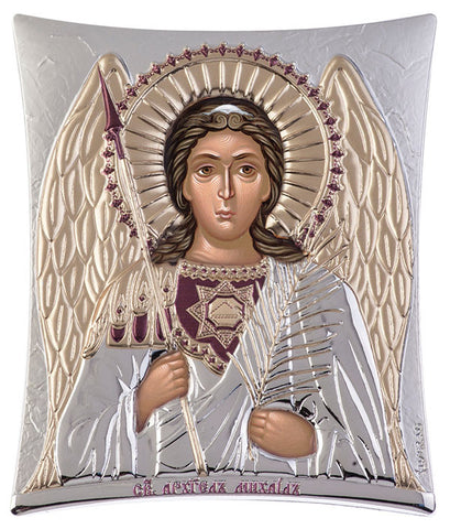 Archangel Michael, Greek Eastern Orthodox Icon, Silver 16x 20cm - Handmade with love from Greece