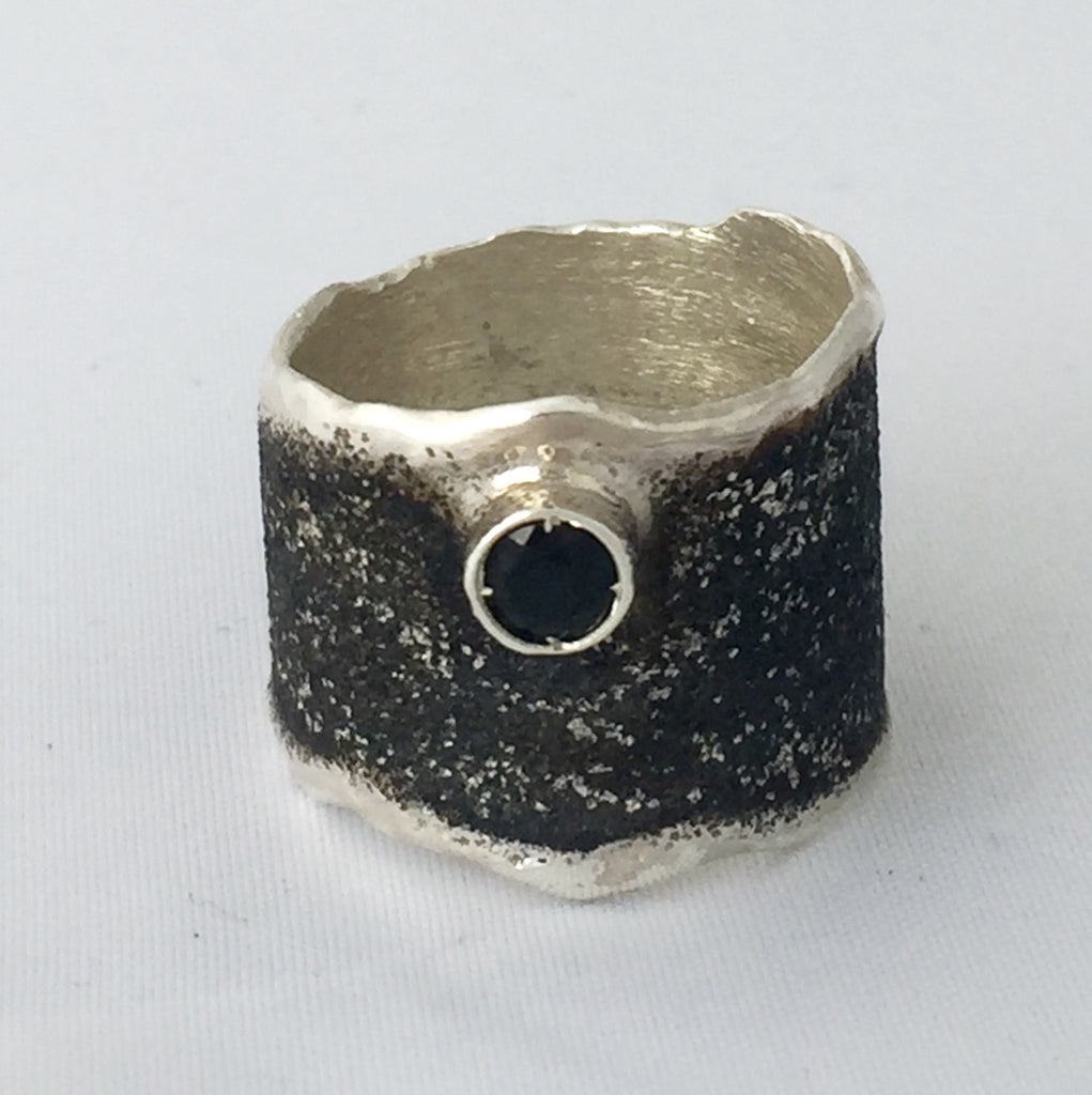 Artisan band thick silver ring  black rhodium hammered ring - Handmade with love from Greece