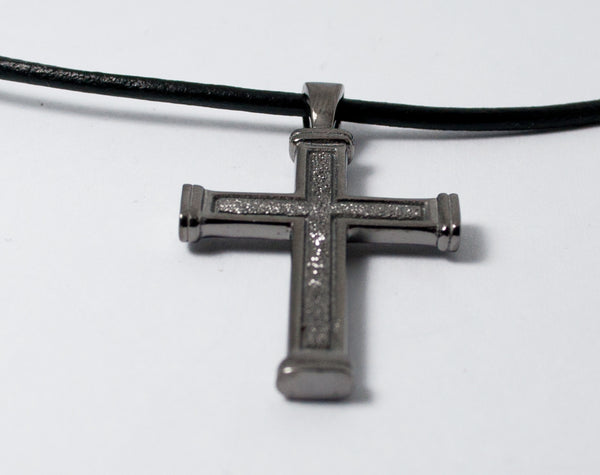 Men's black cross necklace with leather cord