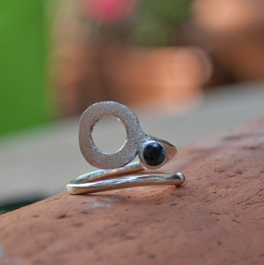 black spinel silver ring, open circle ring, black stone ring, black and silver ring - Handmade with love from Greece