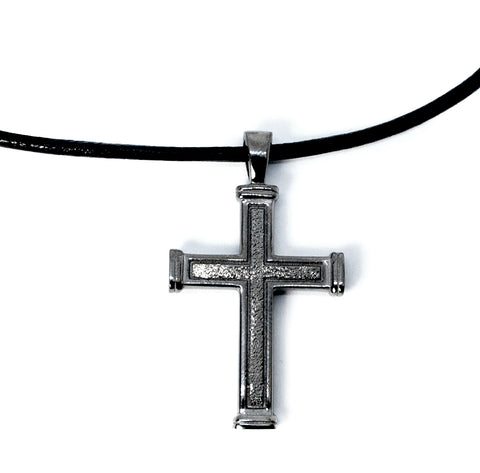 Men's cross necklace with leather rope, black silver cross, silver cross pendant - Handmade with love from Greece
