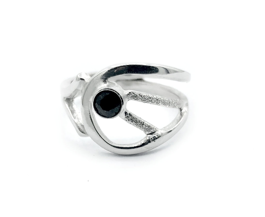 black spinel ring, black stone ring, modern silver ring - Handmade with love from Greece