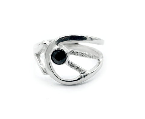 black spinel ring, black stone ring, modern silver ring