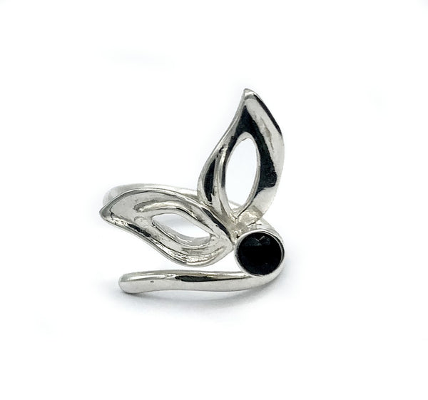 flower ring, black spinel silver ring, contemporary silver ring adjustable