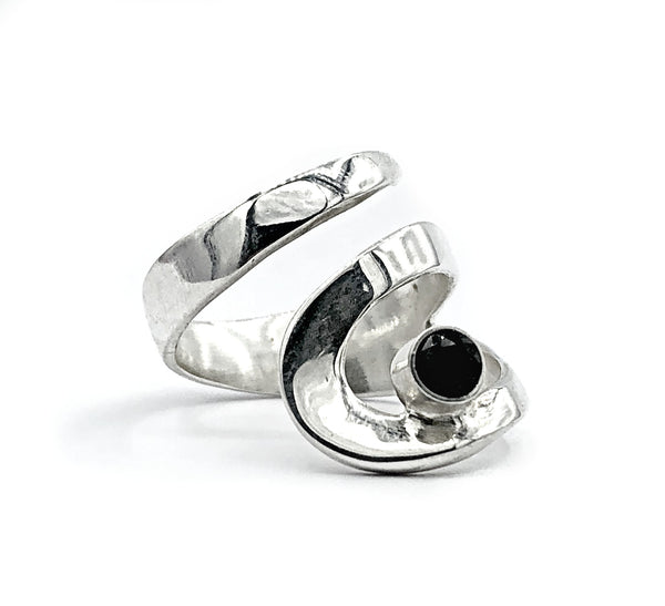 black spinel silver adjustable ring, drop shape silver ring, contemporary silver ring