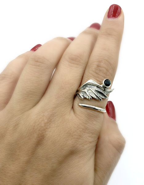 wing ring, angel ring, angel wing ring, black spinel ring adjustable ring