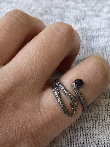 black ring,  octopus silver ring, black tentacle ring