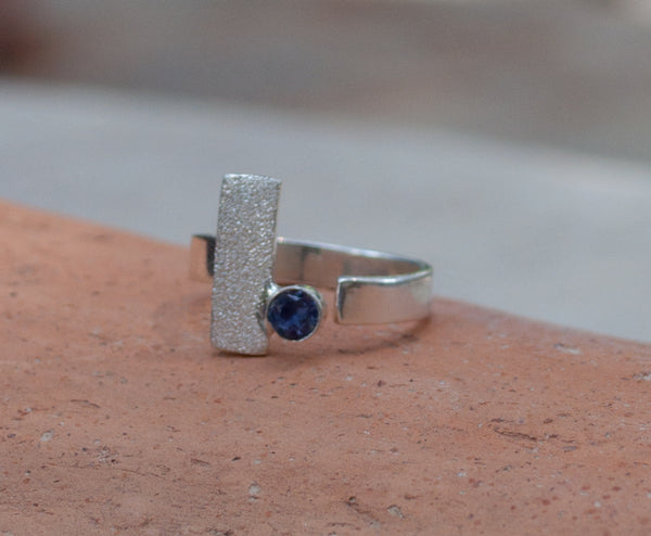 blue iolite silver ring, modern silver ring, geometric ring, blue stone ring - Handmade with love from Greece
