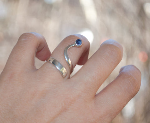 Blue iolite silver Trikemia wave ring, modern sterling silver ring - Handmade with love from Greece