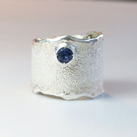 Blue Iolite Wide Silver ring, blue iolite Solitaire ring rough textured wide ring - Handmade with love from Greece