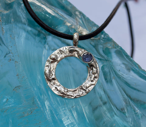 blue iolite silver pendant, karma pendant, geometric circle pendant, blue stone pendant - Handmade with love from Greece