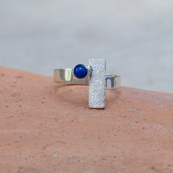 blue lapis silver ring, modern silver ring, geometric ring, blue stone ring