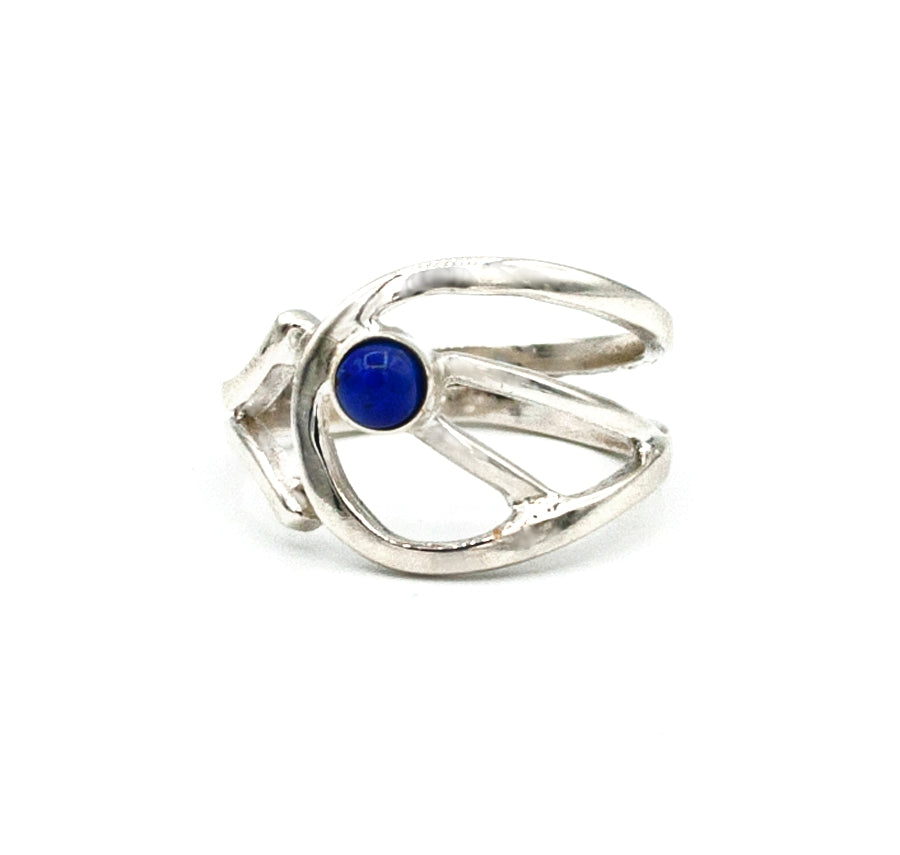 Blue lapis lazuli Silver ring, blue stone ring, contemporary silver ring - Handmade with love from Greece